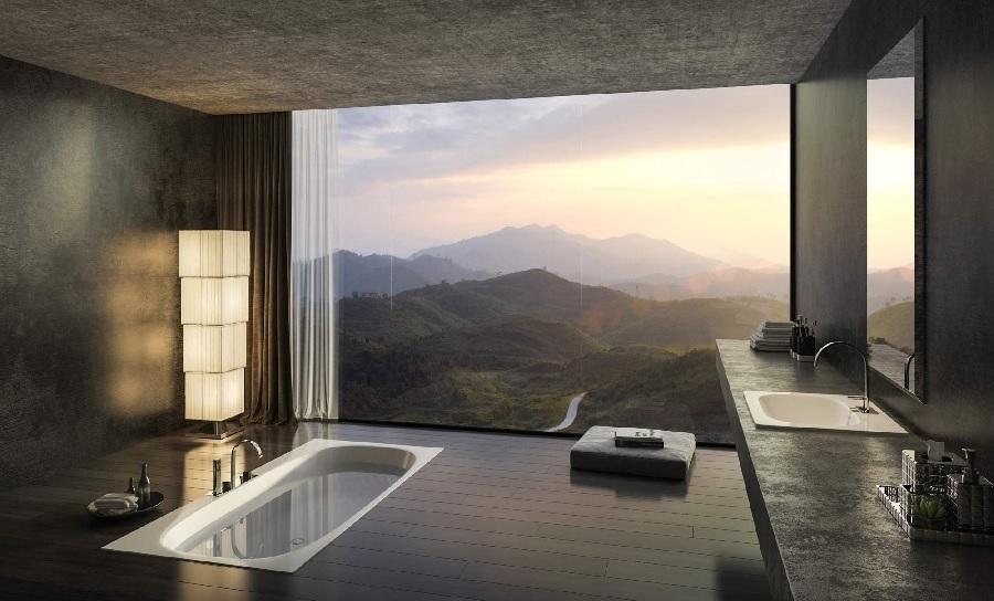 Piękna łazienka z widokiem